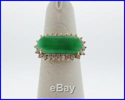 Vintage Estate Green Jade Diamonds Solid 14k Yellow Gold Cocktail Halo Ring
