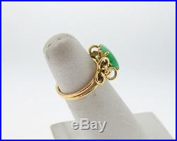 Vintage Estate Green Jade Jadeite 11x9mm Solid 14k Yellow Gold Ring FREE Sizing