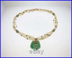 Vintage Estate Green Jade Seed Pearls Solid 14k Yellow Gold Pendant 21 Necklace
