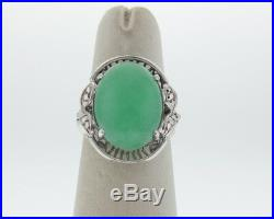 Vintage Estate Green Jade Solid 14k White Gold Cocktail Ring FREE Sizing