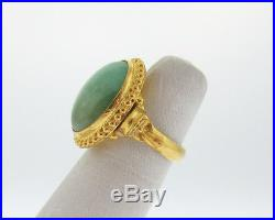 Vintage Estate Green Jade Solid 24k Yellow Gold Pure 999.9 Large Cocktail Ring