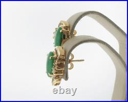 Vintage Estate Green Jades Diamonds Solid 18k Yellow Gold Cocktail Earrings