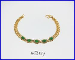 Vintage Estate Green Jades Diamonds Solid Pure 24k Yellow Gold 6.75 Bracelet