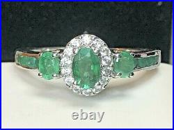 Vintage Estate Sterling Silver Emerald White Sapphire Ring Gemstone Signed Sts