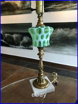 Vintage Fenton Green Opalescent Coin Dot Lamp 26 Fine Working Condition