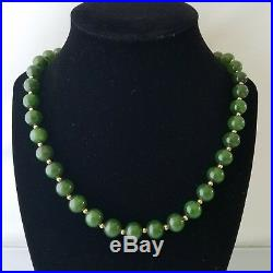 Vintage Fine Natural Green Jade Round Bead 14K Yellow Gold 26 Long Necklace