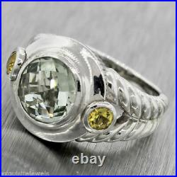 Vintage Judith Ripka Peridot Citrine Sterling Silver Cocktail Ring Size 6.75