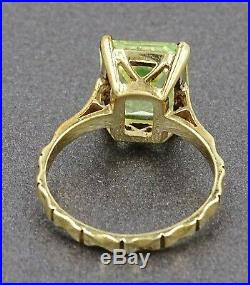 Vintage Lime Green Paste Womens Ring Art Deco 9ct Yellow Gold Fine Jewelry