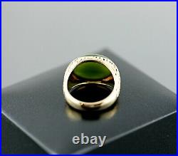 Vintage Men's Fine Jade Untreated 14K Gold Nugget Ring Top Quality Green