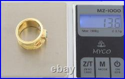 Vintage Modernist Byzantine Etruscan Style Solid 18Ct Gold Ring / Band
