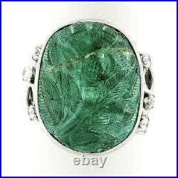 Vintage Platinum 26.06ctw Floral Carved GIA Oval Cabochon Emerald & Diamond Ring