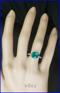 Vintage Platinum Engagement Ring 2.93ct. Natural Green Emerald In Cushion Shape