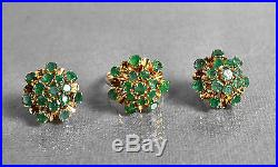 Vintage Retro Emeralds & Yellow Gold Ring & Earrings Outfit Fine Estate Jewelry