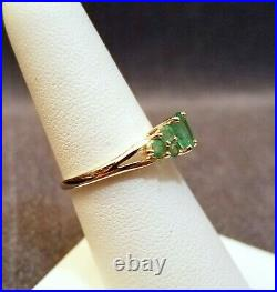 Vintage SCBS 14k Gold Natural Emerald 0.75 ctw Cluster Ring Size 6.5, near mint