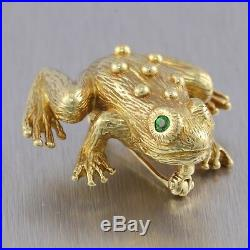 Vintage SUNA Bros. Solid 18k Solid Yellow Gold Emerald Frog Pin / Brooch 14.5g