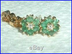 Vintage Solid 14k Gold, Natural Emerald Diamond Post Earrings Fine Quality