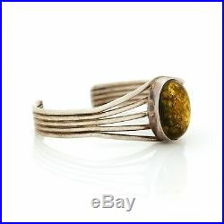 Vintage Sterling 925 Silver Native Navajo Pawn Green Amber Womens Cuff Bracelet