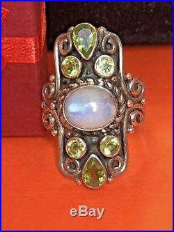 Vintage Sterling Silver Moonstone Green Peridot Ring Made In India Gemstone