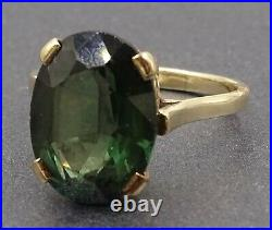 Vintage Synthetic Green Spinel Ring 9ct Yellow Gold Fine Statement Jewelry