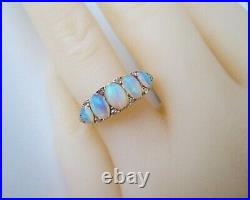 Vintage Victorian 18ct Yellow Gold 1.00ct Fiery Opal & Old Cut Diamond Ring L