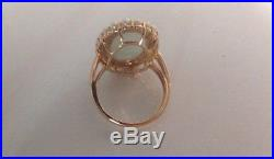Vintage Victorian Style 14k Solid Yellow Gold Oval Jade Pearl Navette Ring Nice