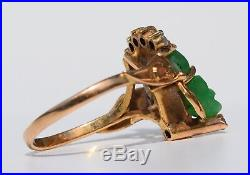Vintage beauty! Solid 18k carved Colombian emerald diamond ring 2.2 gr