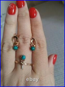 Vintage set gold Ring and GOLD EARRINGS WITH GREEN TURQUOISE 14K / 583 star