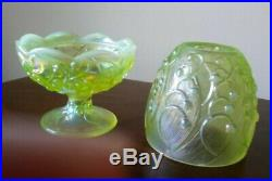 Vtg Fenton Vaseline Glass Lily-Of-The-Valley Fairy Lamp 2 p Fine Condition