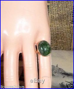 YELLOW GOLD 10K BEZEL SET JADE VINTAGE ART DECO RING SIZE 4 c1930's FINE METAL